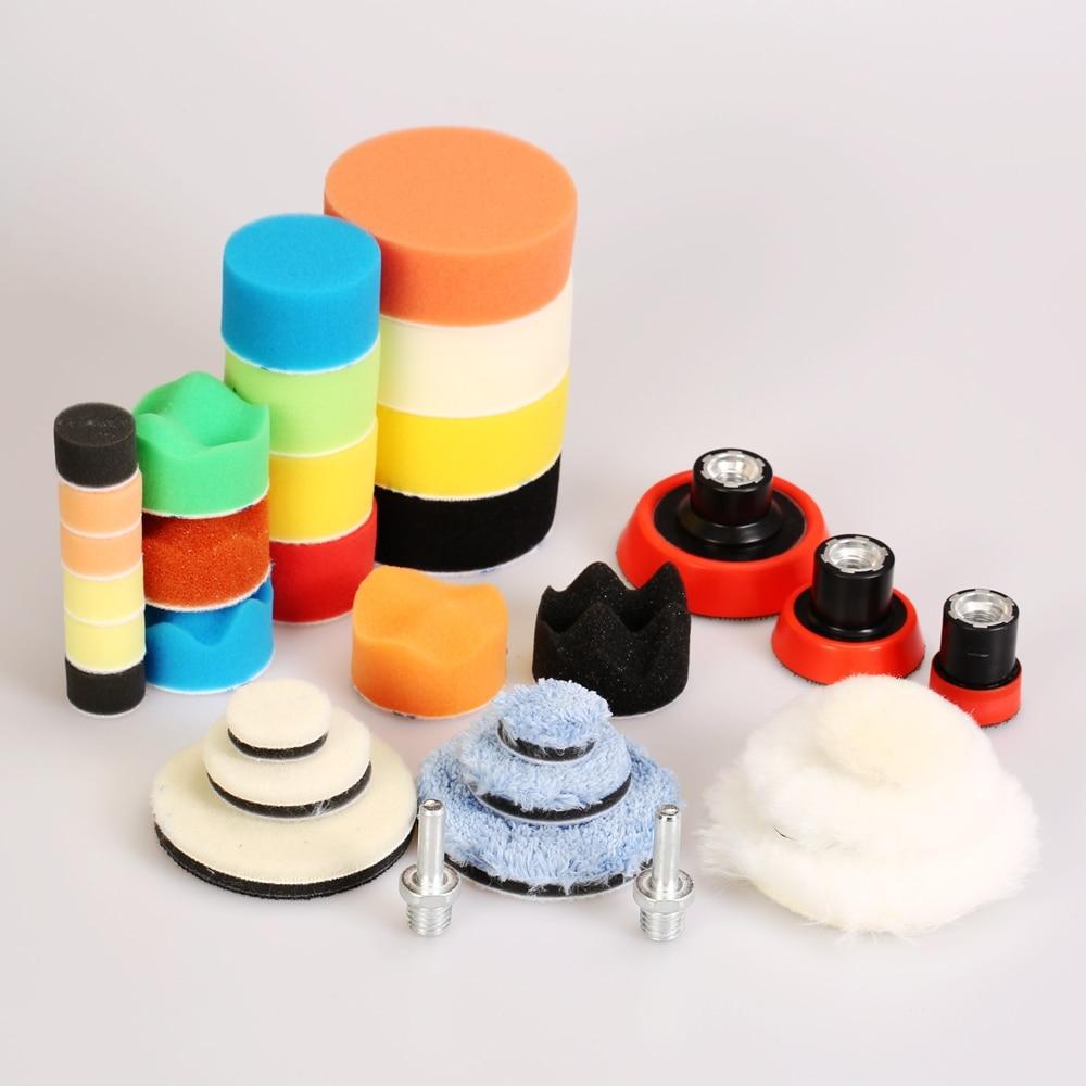 SPTA 33Pcs 1 2 3 Inch Car Polishing Pad Waxing Sponge Foam Car Detail Polishing Buffing Wheels Wool Pad Kit Backing Plate Drill