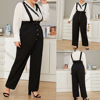 Fashion Women's Dungarees Rompers Sleeveless Cotton Casual Loose Jumpsuit Bib Cargo Pants Overalls Playsuits Trousers Plus Size