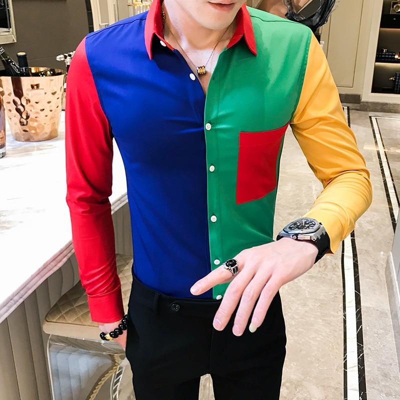 Mode Nähen Gedruckt Hemd 2019 Herbst Barock Männer der Hemd Langarm Patchwork Camisa Masculina Männer Schlank Party Club Hemd