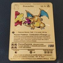Pokemon cartões franceses ouro metal primeira edição cartão charizard pikachu coleção cartão figura de ação modelo criança brinquedo presente