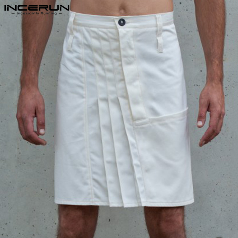 INCERUN Vintage Men Skirts Pants Button Casual Solid Color Pleated Skirts Trousers Men Kilt 2020 Punk Style Pants Men S-5XL