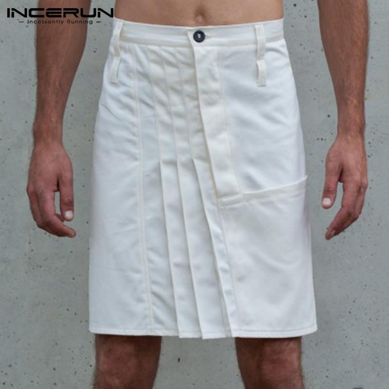 INCERUN Vintage Men Skirts Pants Button Casual Solid Color Pleated Skirts Trousers Men Kilt 2020 Punk Style Pants Men S-5XL