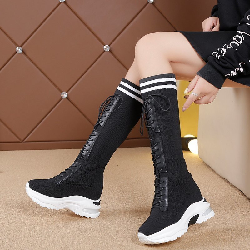 2020 new Women's Boots Round head knitting 7cm Thin Internal increase Sock Boots Black Female Stretch Boots Big Size High boots