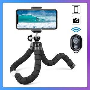 Гибкий мини-штатив KOMERY, Трипод для смартфона с зажимом для телефона, держатель для камеры, селфи-Палка с Bluetooth и дистанционным спуском затвор...