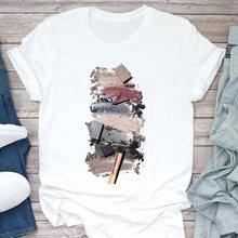 Женская женская футболка с цветным рисунком для макияжа модная
