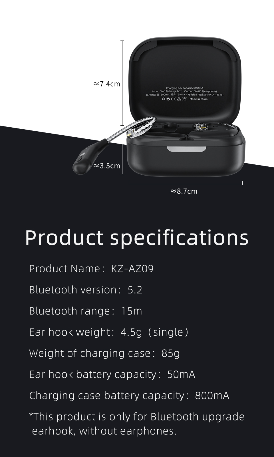 Kz az09 hd bluetooth module wireless upgrade cable bluetooth 5.2 hifi wireless ear hook c pin connector with charging case