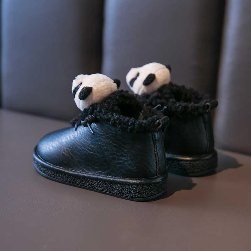 Bakkotie 2019 冬女の子ピンクアンクルブーツ新幼児の少年ファッションスポーツシューズファーブーツキッズかわいいパンダ非スリップ暖かいカジュアルシューズ