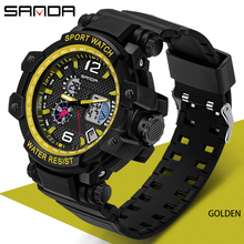 SANDA New Fashion men sports watches LED bright Watches quartz wristwatches Digital Clock Military Dual Display Waterproof Watch