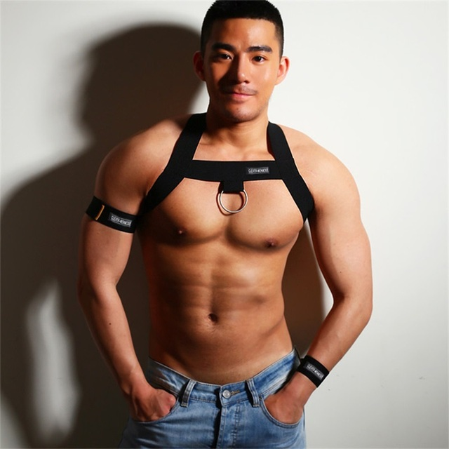 Elastic Harness Men Band Sexy Bondage Shoulder Straps Chest Halter Belt With Metal O-rings Hollow Muscle Costume Club Party Wear