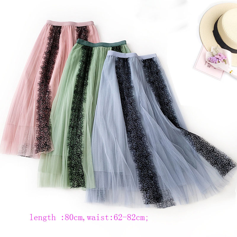 Image 3 - OHRYIYIE Spring Summer High Waist Tulle Skirts Women 2019 New Fashion Long Patchwork Tutu Skirt Sun Fluffy Jupe Longue Femme-in Skirts from Women's Clothing