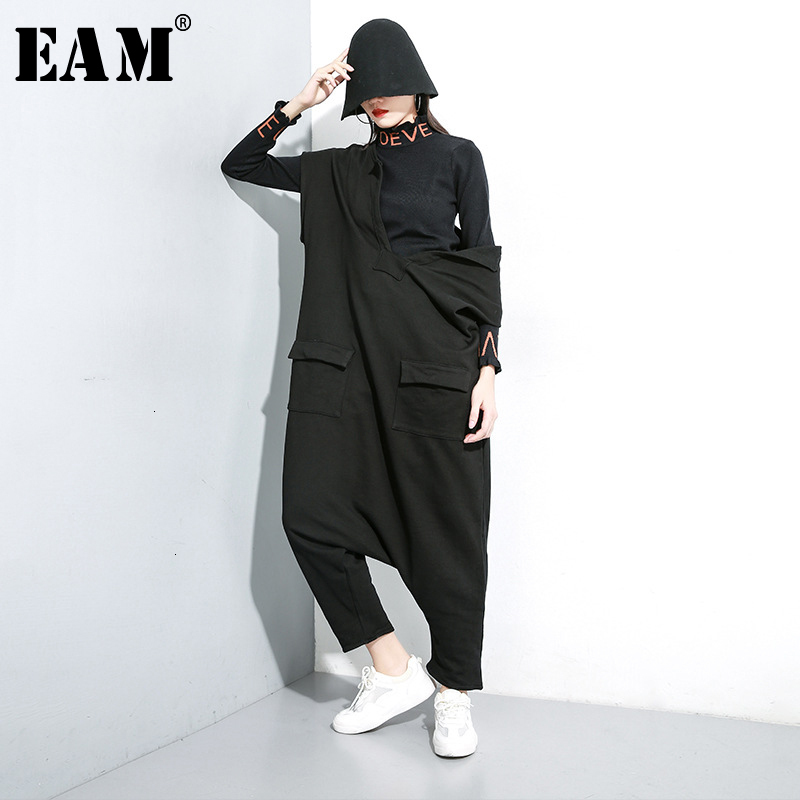 [EAM] Loose Fit Women Black Pocket Split Big Size Jumpsuit New High Waist Pocket Stitch  Pants Fashion Spring Autumn 2020 1K031