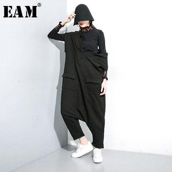 [EAM] Loose Fit Women Black Pocket Split Big Size Jumpsuit New High Waist Pocket Stitch  Pants Fashion Spring Autumn 2020 1K031