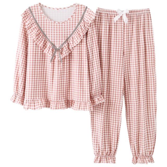 Женская одежда для сна с длинным рукавом, милый клетчатый пижамный комплект, Весенняя Осенняя Пижама, ночная рубашка для молодых девушек, Повседневная Домашняя одежда, пижамы для женщин