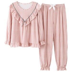 Image 1 - Women Long Sleeve Sweet Plaid Print Sleepwear Suit Spring Autumn Pajamas Set Young Girl Nightgown Casual Homewear Pijamas Mujer