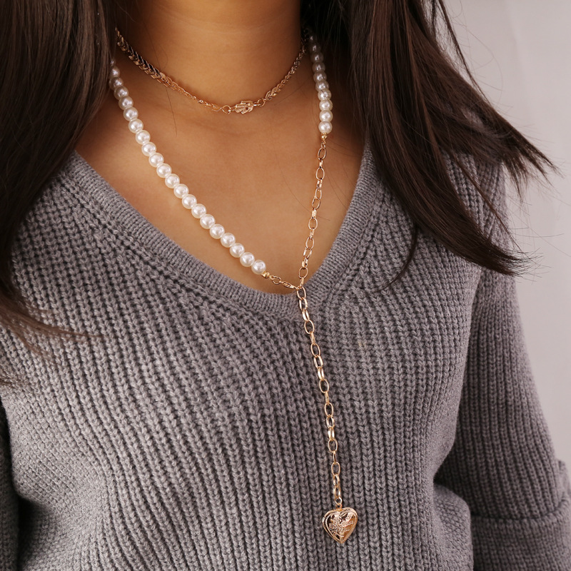 Alloy Heart Pendant Imitation Pearls Necklaces for Women Arrow Choker Gold Color 2020 Fashion Jewelry Layered Necklace