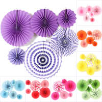 6Pcs/Set Mixed Size Hanging Paper Fan Round Wheel Paper Fans Purple/Green/Blue/Pink Birthday Kids Party Christmas Decoration