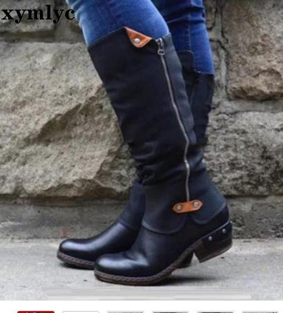2019 Winter New Retro Boots Ladies Low With Waterproof Platform Female Round Head Plus Cotton Warm Comfortable Booties