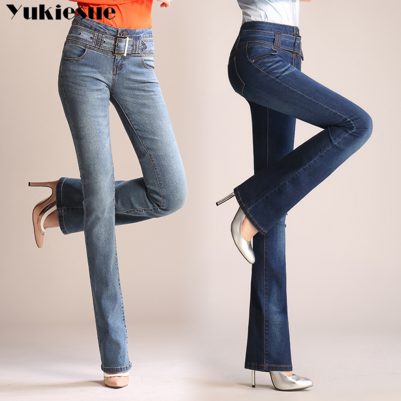 Plus size 26-33 skinny 2019 new autumn flare blue denim   jeans   woman with high waist flared pants feminino trousers   jeans   women