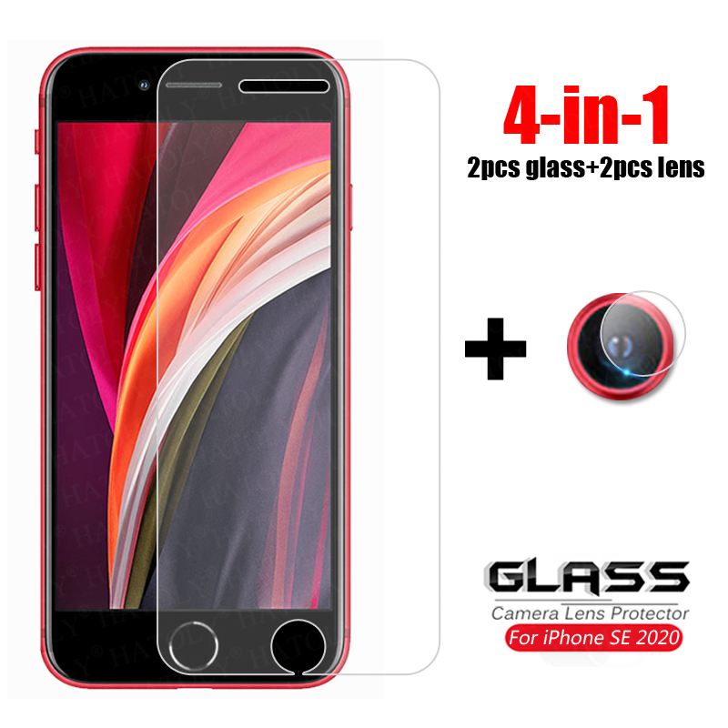 4-in-1 For Glass IPhone SE 2020 Tempered Glass IPhone SE2 SE 2 Camera Lens Screen Protector Phone Film Glass For IPhone SE 2020
