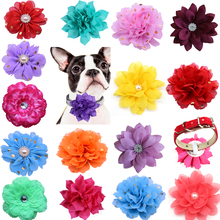100pcs Dog Flower Collar Spring Pet Products Slidable Large Dog Bowties Collar Accessories Small Dog Cat Puppy Collar Charms