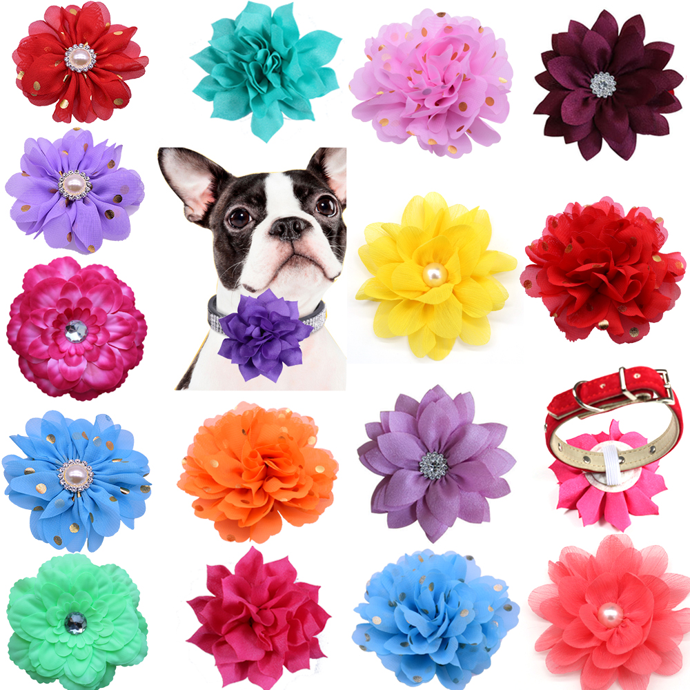100pcs Dog Flower Collar Spring font b Pet b font Products Slidable Large Dog Bowties Collar