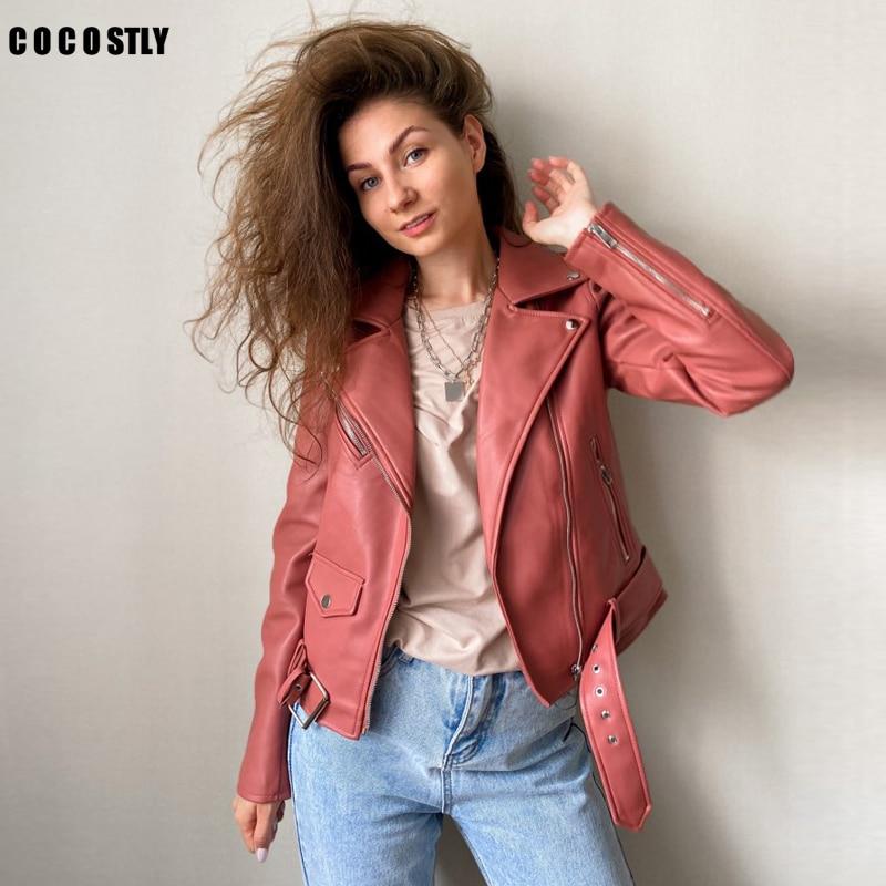 New 2021 Autumn Sashes Pu Faux Leather Jacket Women Zipper Slim Short Biker Jackets Coat Female Outwear Tops casacos feminino Leather Jackets  - AliExpress
