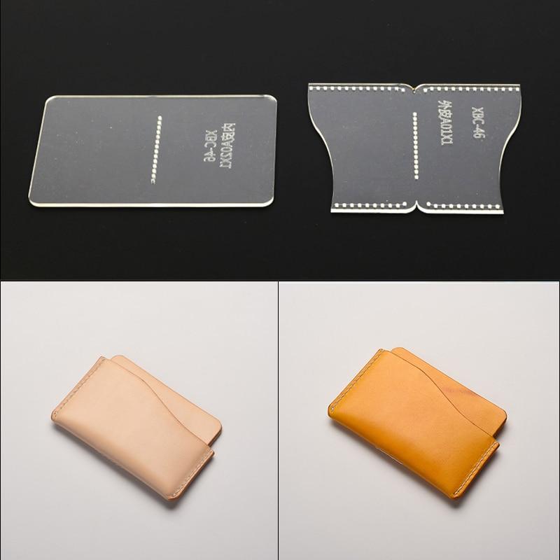 Plexiglass Acrylic Leather Template DIY Handmade Leather Card Case Card Clamp Mold Tool Sample