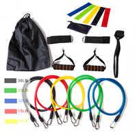 17 Teile/satz Latex Widerstand Bands Gym Tür Anker Ankle Straps Mit Tasche Kit Set Yoga Übung Fitness Band Gummi Schleife rohr Bands