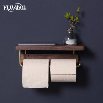 Brass paper roll holder toilet paper towel holder toilet solid wood retro pastoral style toilet paper rack paper towel storage creative home practical paper towel storage box retro simple style cute camera shape paper towel holder toilet paper storage box