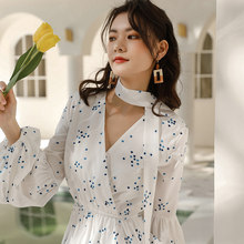Women Spring Polka Dot Round Collar High Waist Long Dress Long Sleeve Ruffle Hem Lacing Dresses Slim Fit