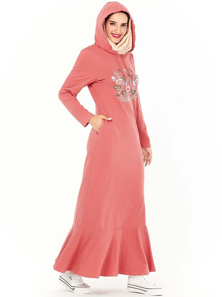 Muslim Hoddies Maxi Dress Hooded Tracksuit Women Print Floral Jogging Sports Long Dress Side Pockets Musulman Islamic Clothing