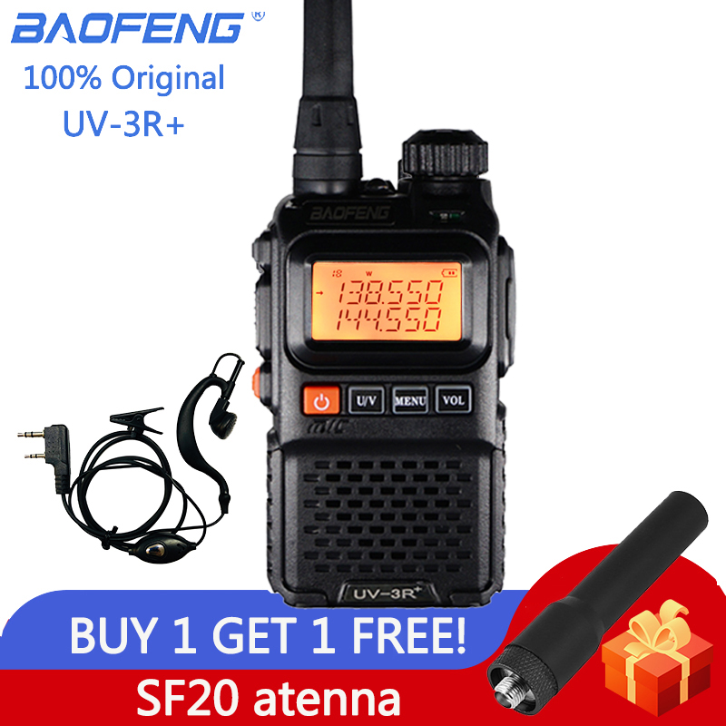Baofeng UV 3R Plus Walkie Talkie Dual Band UV3R+ Two Way Radio Wireless CB Ham Radio FM HF Transceiver UHF VHF UV-3R Intercom