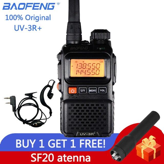 Baofeng UV UV3R 3R Plus Walkie Talkie Dual Band + Rádio em Dois Sentidos CB Ham HF Transceptor de Rádio FM Sem Fio UHF VHF Interfone UV 3R