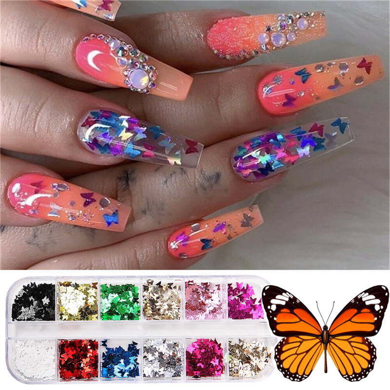 1 Box Butterfly Nail Sequins Gold Silver Holographic Butterfly Shape Laser Nail Glitter Paillette Flakes DIY Nail Art Decoration