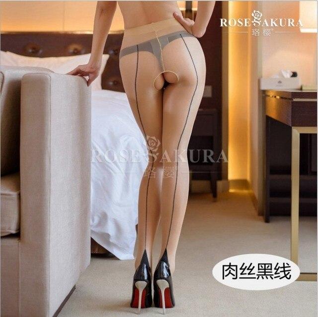 Vintage Cuban Back Line Heel Seamed Open Crotch High Waist Pantyhose 3