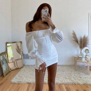 2020 Women Summer Long Flare Sleeve Dress Slash Neck Off Shoulder Bodycon Pencil Mini Dress Pleated Lace up Skinny Short Dresses 1