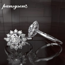 PANSYSEN 100% 925 Sterling Silver Rings for Women Flower Design Ring Bijoux Femme Bridal Wedding Engagement Jewelry Accessories(China)