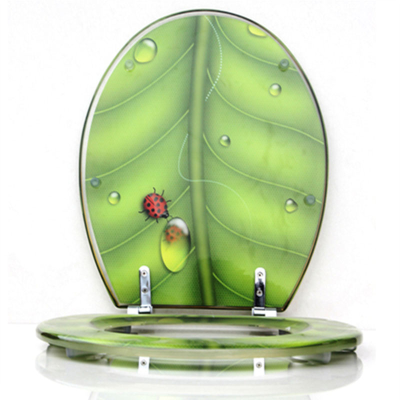 Resin Toilet Seat Toilet Cover Green Leaf Insects Descending UVO Universal Thickened Toilet Cover Stainless Steel