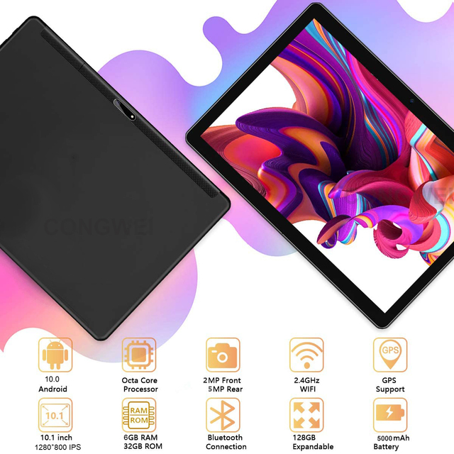 Global 4G LTE 10 inch Tablet PC Android 10.0 Octa Core 6GB RAM 32GB ROM Dual Camera Wifi Bluetoth 1280X800 IPS Tablets планшет 3