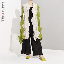 LANMREM 2021 Spring Summer Fold Coat Women Stitching Color Cardigan Female's Long Sleeve Asymmetrical Coats WJ20606
