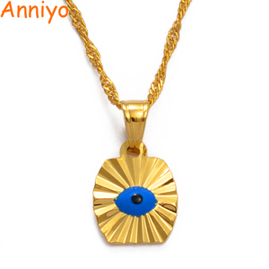 Anniyo Small Mini Blue Eye Gold Color Evil of Eye Pendant Necklaces Chain Kids Girls Arab Jewelry for Middle East Women #071402