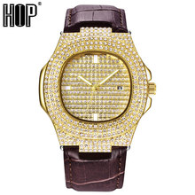 Hip Hop Men Iced Out Watches Luxury Date Quartz Wrist With Micropave CZ Watch For Women Jewelry