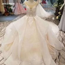 LSS155 หรูหรางานแต่งงานชุดMulti LayerกระโปรงO Neck appliquesความงามvestidos de novia 2020 Alta calidad