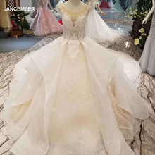LSS155 di lusso lucido abito da sposa multi strato del pannello esterno o neck senza maniche appliques di bellezza abiti da sposa 2020 alta calidad