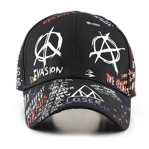 Image 2 - SLECKTON 100% Cotton Hip Hop Baseball Cap for Men and Women Casual Graffiti Snapback Hat Unisex Fashion Hats Peaked Caps Summer