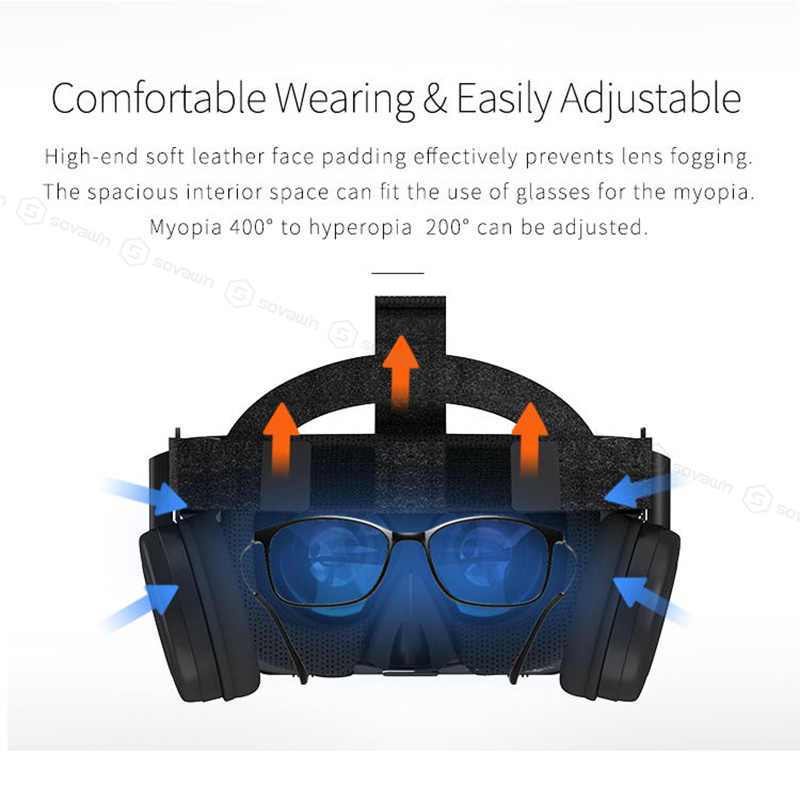 BOBO VR Z6 سماعة لاسلكية تعمل بالبلوتوث نظارات ثلاثية الأبعاد الواقع الافتراضي للهواتف الذكية غامرة ستيريو سماعات VR كرتون آيفون أندرويد