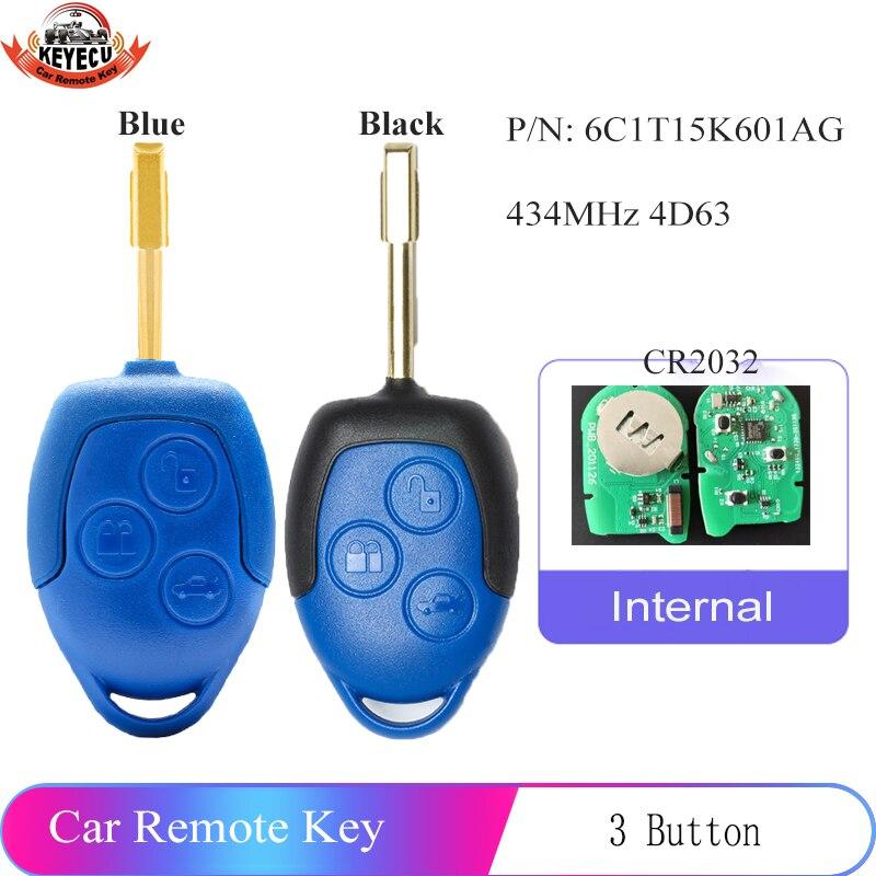 Запасной дистанционный ключ KEYECU (2 модели на выбор) 433 МГц 4D63, 3 кнопки для Ford Transit WM VM 2006-2014 6C1T15K601AG