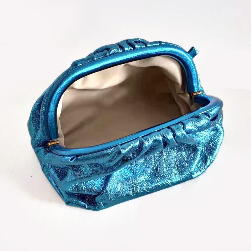 Moda famosa marca de lujo estilo mujeres bolsas bolsa nube bolsa brillante bolso de cuero genuino señora embragues piel de oveja calidad - 3