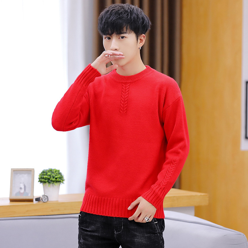 Winter Mens Sweaters Purple Blue Pullovers O-Neck Casual Solid Thick Sweater Men Long Sleeve White Black Red Yellow