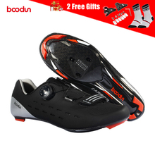 Boodun Mens Carbon Cycling Shoes Road Bike Ultralight Breathable Self-Lock Non-slip SPD Triathlon Bicycle